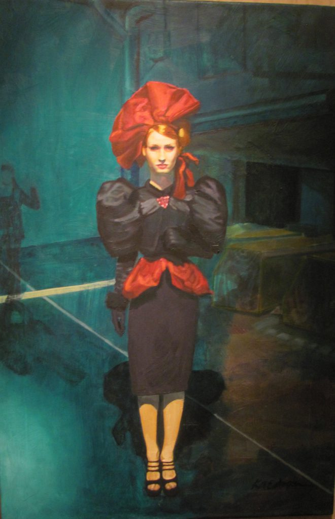 Woman with red ribbon, oil painting by K. A. Estocin